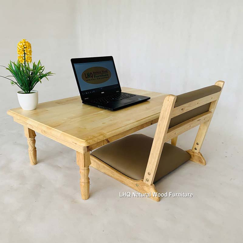 Ghế ngồi bệt gấp gọn gỗ cao su