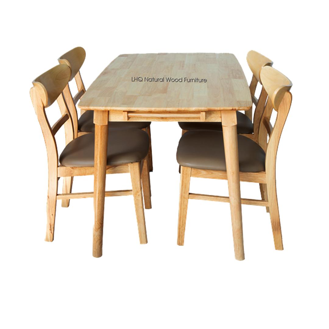 Bộ bàn ghế ăn Mango -  4 ghế mặt đệm